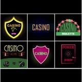Pookclub en casinoembleem Stock Afbeeldingen