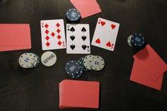 Pookspel Spaanders en kaarten Royalty-vrije Stock Afbeelding