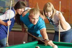 Pool. Photo of friends playing pool stock photography