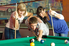 Pool. Photo of friends playing pool stock images