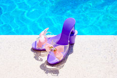 Pool. Girl shoes in a pool Stock Images