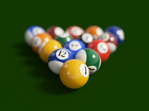 Pool. 3d render of balls on a pool (billiards) green table Royalty Free Stock Photography