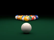 Pool. 3d render of balls on a pool (billiards) green table Royalty Free Stock Photos