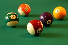 Pool. Close up of some pool balls stock photo
