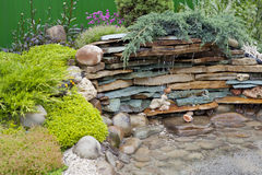 Pool. Decorative pool of stone, water and plant Royalty Free Stock Images