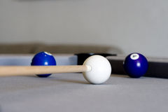 Pool. Playing on a grey pool, 2 blue balls left Stock Image