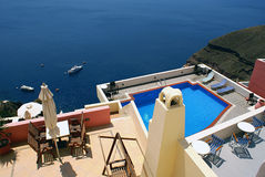 Pool. On Santorini island, Greece royalty free stock photos
