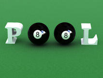 Pool. Billiard balls writing pool word Stock Photography
