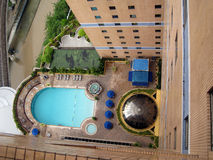 Pool. A top view of a swimming pool in a resort Royalty Free Stock Images