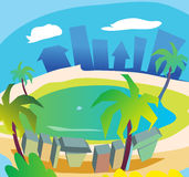 Pool. Swimming pool vector graphics in illustrator Stock Images