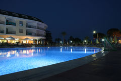 Pool. By night Holiday resort Royalty Free Stock Images