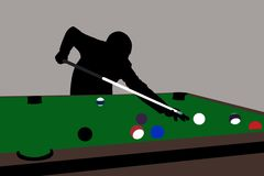 Pool. Billiard-player silhouette Stock Photo