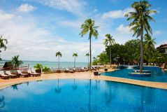 Pool. A swimming pool and resort royalty free stock photo