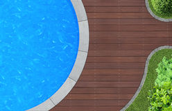 Pool from above. Swimming pool in ornamental garden from above stock illustration