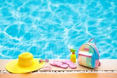 Free Pool And Beach Items Flat Lay. Summer Vacation. Royalty Free Stock Photos - 109997788