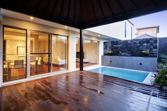 Pool Area. A courtyard pool area of a luxury home Stock Photography