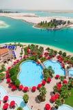 Pool area of Khalidiya Palace resort in Abu Dhabi, UAE Royalty Free Stock Photo