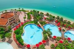 Pool area of the resort in Abu Dhabi, UAE Royalty Free Stock Photo
