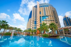 Pool area of Khalidiya Palace at sunrise, Abu Dhabi Royalty Free Stock Images