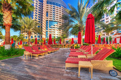 Pool area of resort Khalidiya Palace by Rotana Royalty Free Stock Photos