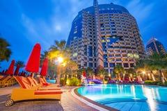 Pool area of resort Khalidiya Palace by Rotana Stock Photography
