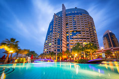 Pool area of resort Khalidiya Palace by Rotana, UAE Royalty Free Stock Photo