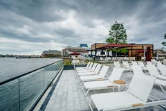 The pool area of the Sagamore Pendry Hotel in Fells Point, Baltimore, Maryland royalty free stock image