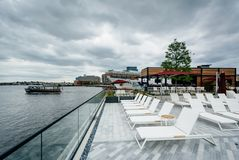The pool area of the Sagamore Pendry Hotel in Fells Point, Baltimore, Maryland.  royalty free stock photography