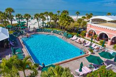 Pool area view of The Don Cesar Hotel and St. Pete Beach .The Legendary Pink Palace of St. Pete Beach 1 stock image