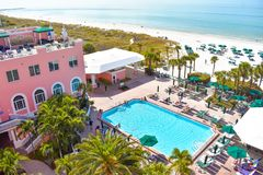 Pool area view of The Don Cesar Hotel and St. Pete Beach .The Legendary Pink Palace of St. Pete Beach 3. St. Pete Beach, Florida. January 25, 2019. Pool area stock photography