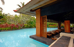 Pool and asian pavilion on tropical resort (Bali, Indonesia) Stock Image