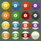 Pool-Bälle 1-15 in einer flachen Vektor-Art Stockbild