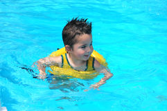 Pool Baby. Little boy in family pool Stock Photography
