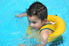 Pool Baby. Little boy swimming in the family pool Stock Images