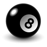 Pool ball. No. 8 over white background Vector Illustration