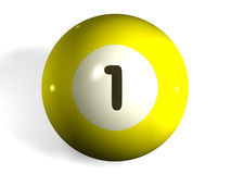 Pool ball. Isolated 3d pool ball number 1 Vector Illustration