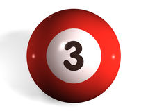 Pool ball. Isolated 3d pool ball number 3 Stock Illustration