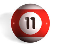 Pool ball. Isolated 3d pool ball number 11 Royalty Free Stock Images
