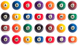 Pool ball alphabet Royalty Free Stock Photos