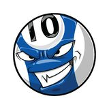 Pool ball with angry face, blue color number 10 cartoon. Pool ball with angry face, Billiard blue color number 10 cartoon vector illustration vector illustration