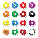 Pool ball, billiard or snooker ball icons set. Vector icons set of pool balls isolated on white Stock Image