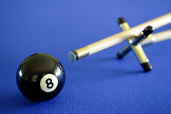 Pool ball and cue Stock Photography