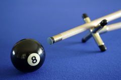 Pool ball and cue Stock Images