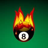 Pool Ball on Fire. Vector Illustration of Pool Ball No. 8 on Fire Stock Photography