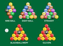 Pool-Ball-Gestelle Stockfoto