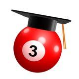 Pool ball graduation celebration icon. 3d illustration Royalty Free Stock Photography