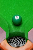 Pool ball near corner pocket Stock Photo