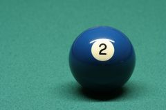 Pool ball number 02. In pool table stock image