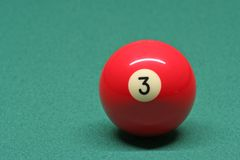 Pool ball number 03. In pool table stock photos