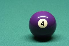 Pool ball number 04. In pool table royalty free stock photo